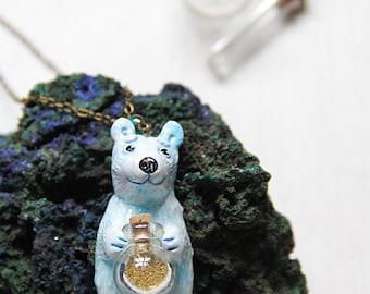 Arctic Polar Bear Stardust Cute Polymerclay Pendant