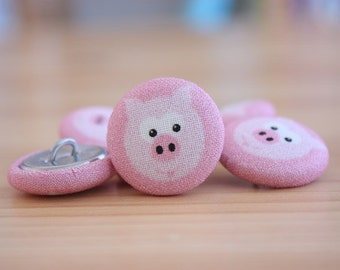 Fabric Covered Buttons -  Pig on Pink - 1 Medium Fabric Buttons