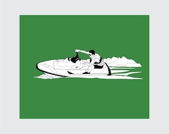 Waverunner Art Print, 8x10 PRINTABLE, Jet Ski, Instant Download, Digital
