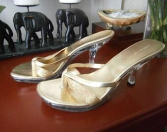 Women's Heels Size 12 - Gold Metallic with Clear Heels