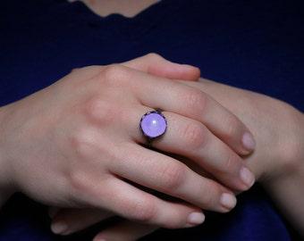 Lavender Ring, Purple Ring, Brass Ring, Bronze Ring, Adjustable Ring, Glass dome Ring, Statement Ring, Boho Ring, Hipster Ring, Hippie Ring