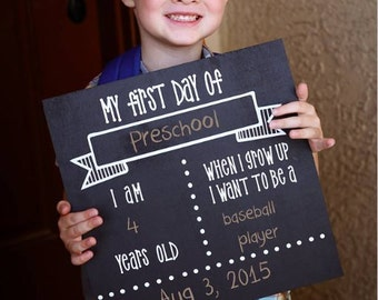 DIY KIT - First Day of School Sign -  Chalkboard Sign - Craft Kit - Create your own - Reusable Sign - Back to School - Do it Yourself Kit