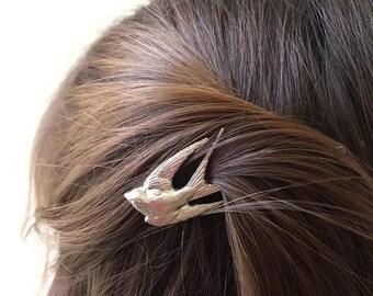 Silver Swallow Bobby Pin Bridal Hair Pin Bird Hair Clip Hair Accessory Woodland Wedding Bridal Hair Clip Boho Hair Woodland Bride Barrette