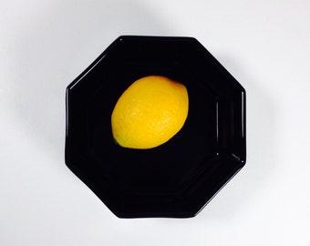 Vintage Black Ceramic Octagonal Serving Bowl, France,
