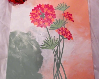 """Modern Painting """"Soft Pink Hydrangea with Sage"""""""