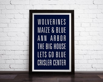 UNIVERSITY OF MICHIGAN Subway Art Print - Customizable