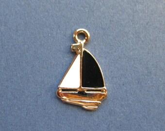 5 Sail Boat  Charms - Sail Boat Pendant - Nautical Charm - Sail Boat - Boat Charm - Boat - Gold Plated - Enamel Charm - 20mmx13mm-(A1-10431)