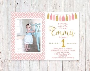 Baby Girl First Birthday Pink and Gold Glitter Birthday Party Invitation