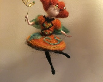 "Needle felted Waldorf inspired  Magic Fairy ""Pumpkin """