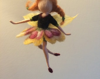 """Needle felted Waldorf inspired  Flower Fairy """"Pansy """""""