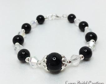 Vintage Black Bracelet Black Pearl Jewelry Gothic Wedding Gift Black Themed Wedding Black Crystal Bracelet Gift Under 20 Bridesmaid Gift