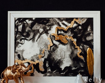 Die Geduld Hiob // Original abstract painting, acrylic ink, silver and gold leaf. Black, white, silver, and gold.