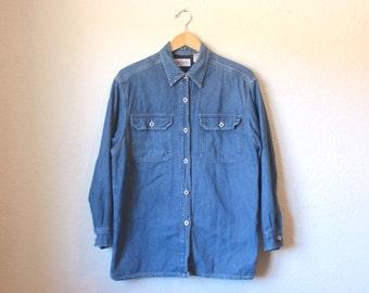 80s, 90s, BILLBLASS Long Sleeve, Button Down, Denim Jean Shirt, Size M