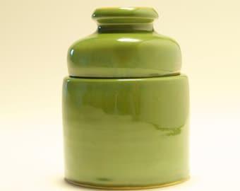 Handmade Sage Green Stoneware Lidded Jar
