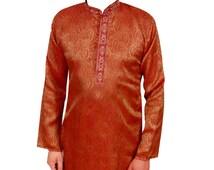 Rust Men's Indian party wear exclusive Cheap serwani, Salwar kameez in Jacquard fabric online shops, Wembley, Upton Park, Ilford UK  694