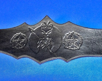 Leather Herne the Hunter Pentacle Pagan God Wristband Cuff