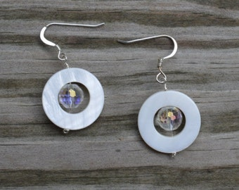 Mother of Pearl and Crystal Earrings, Mother of Pearl Earrrings, Crystal Earrings, Mother of Pearl Jewelry