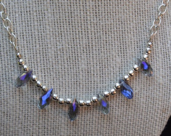 Blue/gray Crystal Necklace, Blue Crystal Necklace, Blue and Silver Necklace