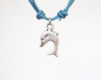 DOLPHIN silver color friendship bracelet  cotton cord bracelet