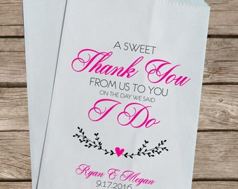 Candy Buffet Bags, Custom Kraft Favor Bags, Personalized Wedding Favor