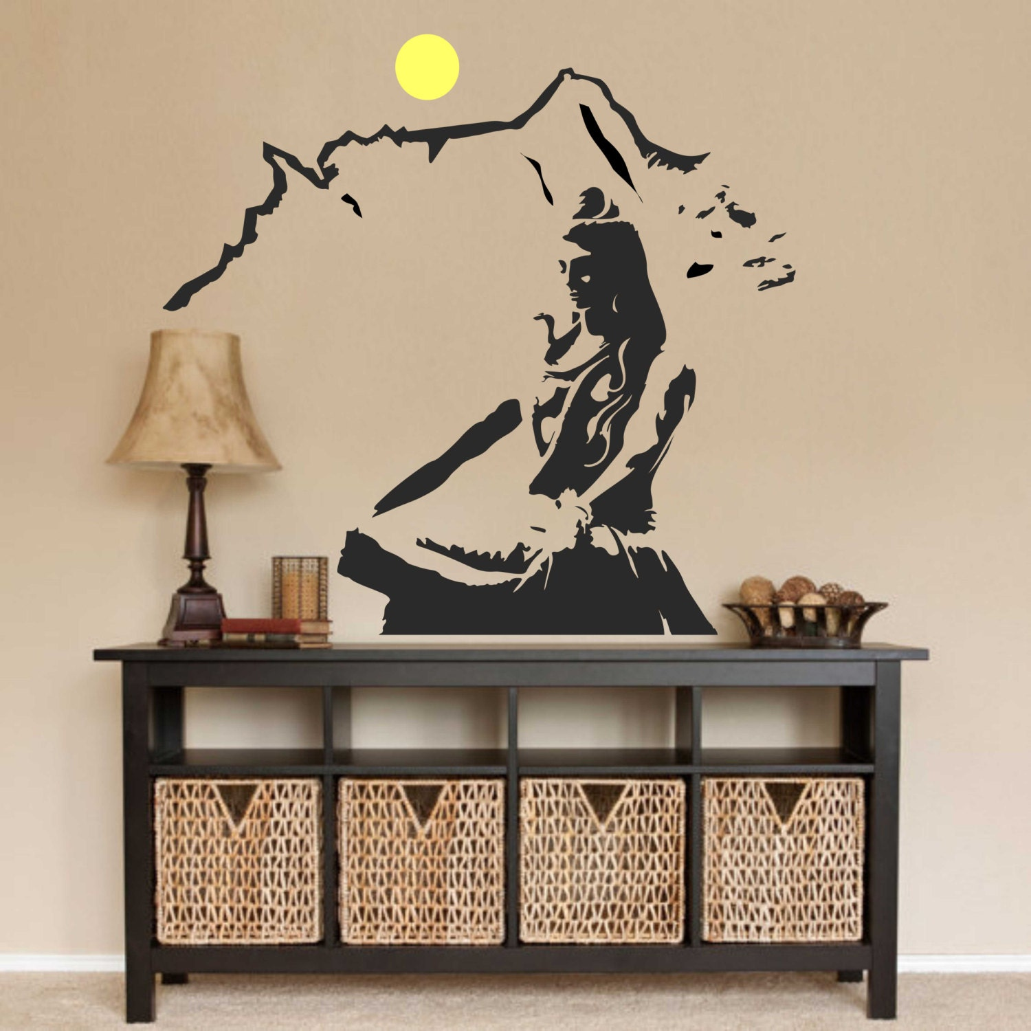 Lord shiva wall decal hindu prayer decals car decals for Decorative mural