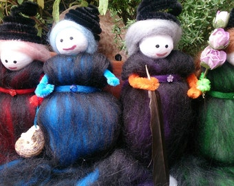 Wool Felt Fairy - Four element witches - wool felt witches