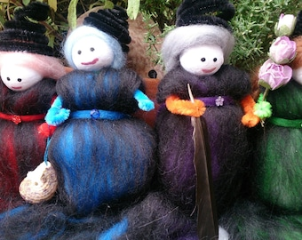 Four element witches - wool felt witches
