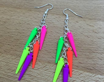 spike earrings, punk earrings, neon earrings, spike jewerly, rock chic, neon jewerly, punk jewerly, rock jewerly, colorful spike earrings