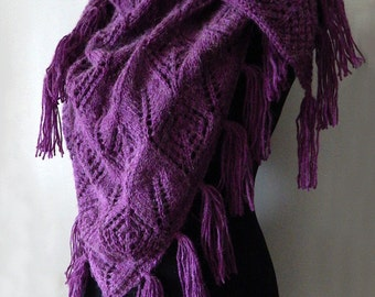 Alpaca knitted violet tassel shawl, knitted alpaca wrap, warm winter shawl, knitted accessory, woman scarf
