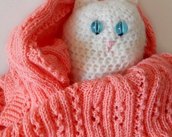 Knitted pink baby blanket, knitted baby afghan, newborn baby blanket, baby girl blanket, baby shower gift