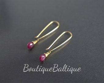 SALE Long Ruby Earrings, 14K Gold Filled Natural Genuine Tiny Red Gemstone earrings, Wire Wrapped Ruby Jewelry, July Birthstone