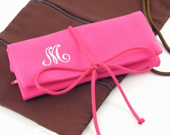 Monogrammed Jewelry Roll // Personalized Travel Jewelry Roll // Monogrammed Jewelry Organizer // Monogrammed Gifts for Her
