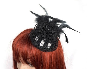 Striped Gothic Fascinator with feathers