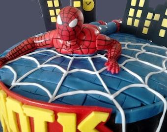 The Amazing Spiderman Fondant Edible Cake Topper - Superhero Birthday Cake Topper, Marvel - Superhero Cake Decor