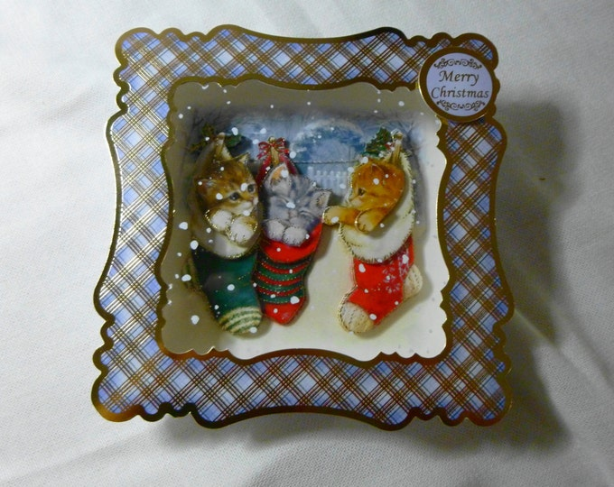 Christmas Box Card, Hand made Greeting  Card, Box Card, Three Kittens in Christmas Stockings,Any Age, Male or Female,