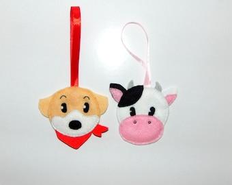 Harvest Moon Handmade Felt Decoration - Cow or Dog