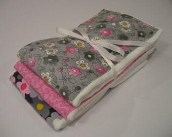 Pink & Grey burp cloths, Free Shipping