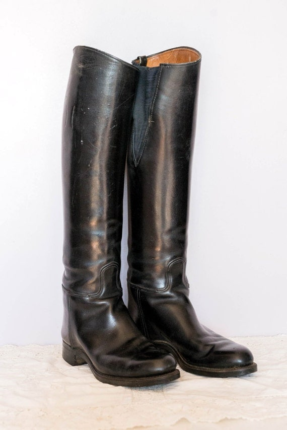 Vintage Riding Boots Biltrite Equestrian Black Leather Horse
