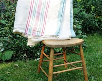 Vintage Woven Wool Blanket - French Canadian Blanket - Beige with Stripes Pink and Green - 69 in. X 78 in.