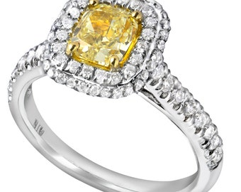 1.34 Ct Cushion Cut Diamond Engagement  Ring, Halo Diamond Engagement Ring, Yellow Diamond Engagement Ring, Diamond Ring, 18k White Gold