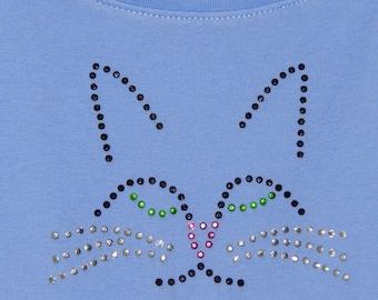 Rhinestone cat face complete appliqué kit,sparkling multi-colored hot fix crystals