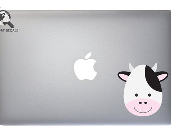 Cute Baby Moo Cow - Full Color Vinyl Decal For Macbook, Laptop, or other accessories