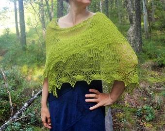 Hand Knit Triangular Cotton Lace Shawl.