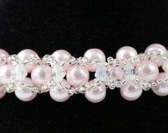 Pale Peach Glass Pearl Beaded Bracelet
