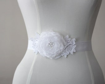 White Organza medium rose wedding belt, bridal belt, sash belt,bridesmaid belt,sash