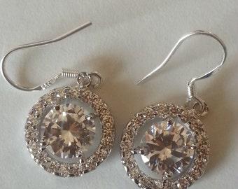 Cubic Zirconia Drop Earrings/Wedding Jewelry/Bridal Earrings/Bridesmaid Earrings/Wedding Gifts/Birthday Gift/Gemstone Jewelry