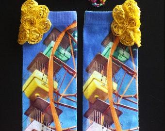 Baby toddler girls whimsical leg warmers set, ferris wheel leg warmers, vintage leg warmers, boho