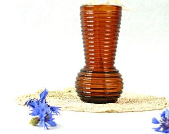 Glass vase - Yellow glass vase - Amber glass bottle vase - Brown glass flowerpot - Brown home decor - Amber home decor