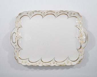 Old white porcelain German Gold-edged tray listed Victorian style hand