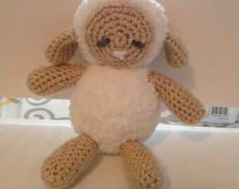 Crochet Lamb Stuffed Animal- Beige, Baby Lamb Amigurumi, Lamb Doll